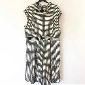 Eloquii Windowpane Cap Sleeve Midi Dress